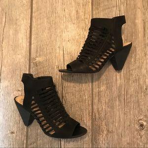 Vince Camuto black suede heel sandals